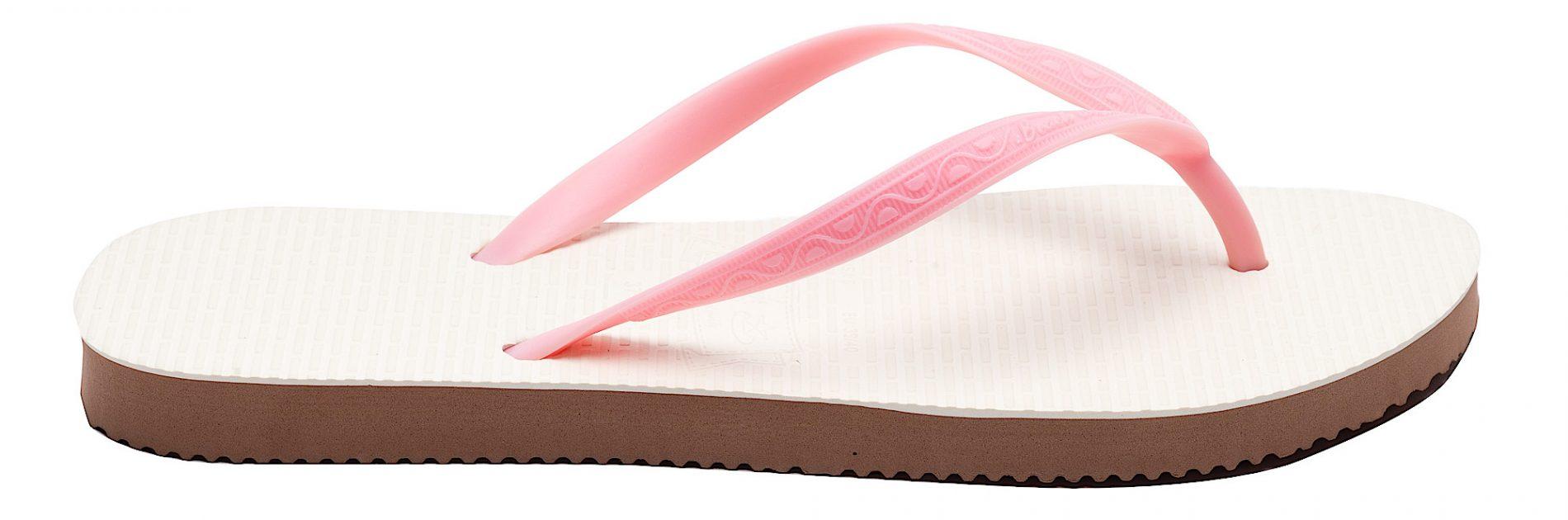 Tong modèle Aruba rose bubble gum. Vue de profil