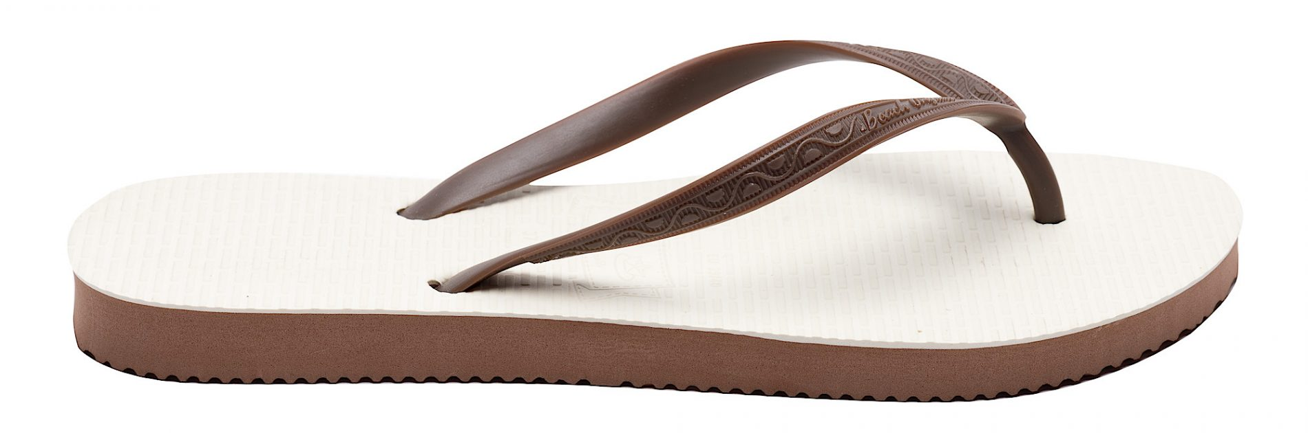 Tong modèle Durban marron chocolat. Vue de profil