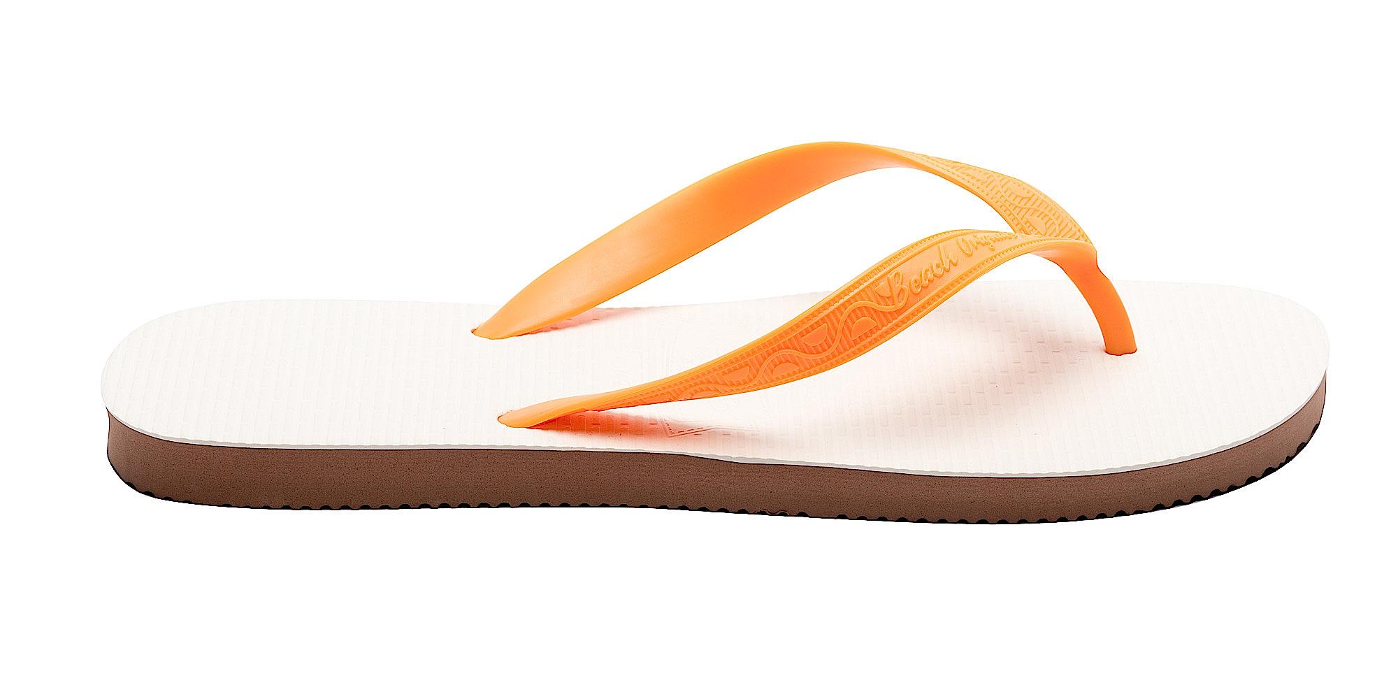 Tong modèle Santa Monica orange california. Vue de profil