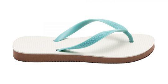 Tong Femme modèle Acapulco bleu lagon. Vue de profil