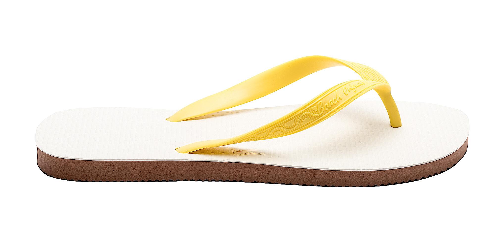 Tong Homme modèle Rio jaune banane. Vue de profil