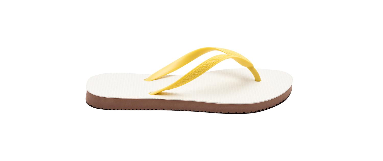 page d'accueil bureau avec photo de tong modèle Rio jaune banane. Vue de profil